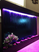 Wall Waterfall XXL 130cm x 90cm Water Fountain, Blue Glass/ Black Frame Colour Changing Lights, Remote Ctrl By Jersey Home Decor
