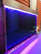 Wall Waterfall XXL 130cm x 90cm Water Fountain, ST STEEL Frame/ BLUE GLASS Colour Changing Lights, Remote Ctrl By Jersey Home Decor