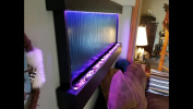 Wall WaterFall XXL 150cm x 70cm Black Frame , Silver mirror Glass, Colour Changing Lights Remote Ctrl Jersey Home Decor