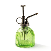 Nattol Vintage Style Green Glass Bottle Sprayer,Decorative Ribbed Plant Mister With Top Pump