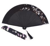 Amajiji Charming Elegant Modern Woman Handmade Bamboo Silk Folding Pocket Purse Hand Fan.Chinese /Japanese Vintage Retro Style JNSZ(22cm)
