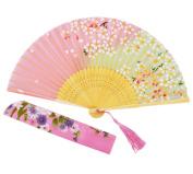 Amajiji Chinese Style Butterfly Flowers Pattern Lace Bamboo Handheld Folding Fans for Girls Women