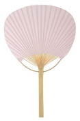 Quasimoon 23cm Pink Paddle Paper Hand Fans for Weddings (10 Pack) by PaperLanternStore