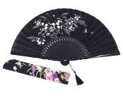 Amajiji 21cm Beautiful hand-crafted Chinese Japanese hand held folding fan with first-class bamboo spins and traditonal silk fabrics HBSY