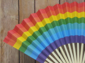 Quasimoon 23cm Rainbow Multi-Colour Paper Hand Fans for Weddings, Parties, Premium Paper Stock (10 PACK) by PaperLanternStore