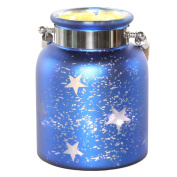 River of Goods 15131 Large 22cm H Mercury Glass Star Jar with Lights, Blue
