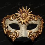 Goddess Gold and White Venetian Masquerade Mask Vintage Design