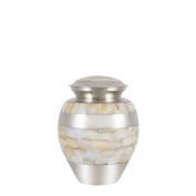 Perfect Memorials Small Brass Nickel Plated Mother Of Pearl Cremation Urn