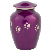 Violet with Silver Paw Prints Pet Urn, Medium, Purple, Dog or Cat Ashes, 15cm