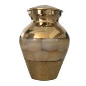 Mini Pearl Keepsake Memorial Urn for Ashes - Mother of Pearl Keepsake Cremation Urn With Velvet Box