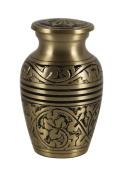 Mini Memorial Natural Gold Colour Keepsake Cremation Brass Urn with Velvet Box