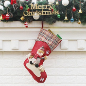 Christmas Stocking Plaid Santa Claus Sock Gift Kids big size Noel Decoration Candy Bag Bauble Tree Ornaments Supplies