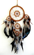 Dream Catcher Traditional Native Style BROWN SUEDE Dreamcatcher With Bone Beads & Feathers - 70cm Long x 20cm Diameter - OMA BRAND