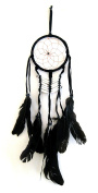 Dream Catcher - Traditional SUEDE Black With Black Feathers & Beads 50cm Long x 13cm Diameter - OMA BRAND