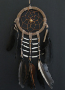 Dream Catcher - Handmade Traditional Native Style BROWN Suede with Bone Beads & Feathers 11cm Diameter & 41cm Long - Oma Brand