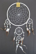 Dream Catcher Traditional Handmade Feather and Mosaic Glass Dream Catcher WHITE DREAM CATCHER, Large Size, 70cm L x 25cm Diameter - OMA BRAND