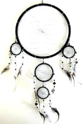 Dream Catcher Traditional Handmade Feather and Mosaic Glass Dream Catcher BLACK DREAM CATCHER, Large Size, 70cm L x 25cm Diameter - OMA BRAND