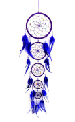 Dream Catcher - Traditional Hanging PURPLE Dream Catcher With Feathers & Colourful Beads LARGE SIZE, 80cm Long x 18cm Diameter - OMA BRAND