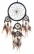 Dream Catcher Traditional SUEDE Black Colour With Feathers & Beads, 18cm Diameter & 60cm Long - OMA® BRAND