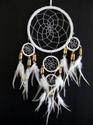 Dream Catcher Traditional SUEDE White Colour With Feathers & Beads, 18cm Diameter & 60cm Long - OMA BRAND