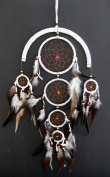 Dream Catcher WHITE Feather Dreamcatcher Tiger Eye Beads & Suede DreamCatcher - 70cm Long x 30cm Diameter - OMA BRAND