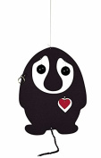 Flensted Mobiles Puffin' Troll Black/Red Heart Hanging Mobile - 18cm Plastic