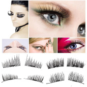 [NEWEST VERSION]Magnetic Eyelashes, 3D Reusable False Eyelashes, Ultra-thin 0.2mm Fake Mink Eyelashes for Natural Look 1 Pair 4 Pieces Best Fake Lashes Extensions