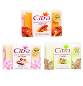 SET CITRA PAPAYA TANAKA PEARL POWDER SOAP WHITENING SCRUB NATURAL HERBAL TAMARIND JUICE WHITENING SCRUBS + AHA + VITAMIN C & E [ Get Free Ceramine UV Line Ginkgo Plus Whitening]