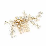 Bridal Hair Comb J-MEE Vintage Flower Wedding Party Rhinestones Women Hair Side Combs Head Pin Headpiece