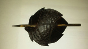 Hand Made Leather Leaf Stick Barrette for Thick Hair Dark Brown