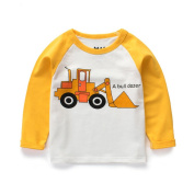 Luerme Little Boys' Cotton T-Shirt Long Sleeve Toddler Infant Kids Cartoon Car Printing Casual Tee
