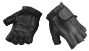 Raider Deluxe Fingerless Leather Gloves Large Motorcycle Riding Gloves L