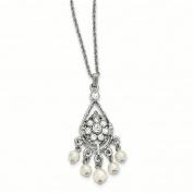 Silver-tone White Crystal Simulated Pearl Dangle 8.9cm ext Necklace