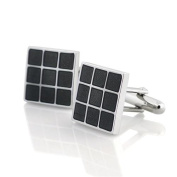 Zodaca Fashion Black Grid Nickel Plated Square Cufflinks Cuff Links For Suit New
