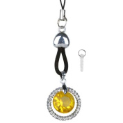 Insten Cell phone Mobile Charm TA3415 Yellow Crystal