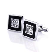 Zodaca Cufflink , Black/ Silver Square with 4 Jewels