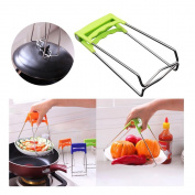 Foutou Universal Kitchen Stainless Steel Foldable Hot Dish Plate Bowl Clip Pots Gripper Crockery Holder Clamp Tongs