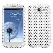 MYBAT SAMSIIIHPCIM975NP Compact and Durable Protective Cover for Samsung Galaxy S3 - 1 Pack - Retail Packaging - White Vintage Heart Dots