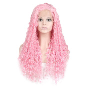 Lace Front Wigs For Black Women SKM NEW Fashion Women Long Curly Wigs Kinky Hair Cosplay Wigs Pink Wigs 70cm