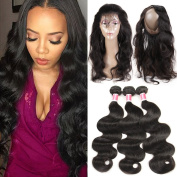 Beauty Princess Hair 360 Lace Frontal with Bundles Peruvian Body Weave 3 Bundles with Pre Plucked 360 Lace Frontal Natural Black Colour