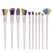 iTME [Upgrade Version] Premium Makeup Brush Set With Colourful Hair Synthetic Cosmetics Flame Foundation Brush, Fan, Flat Head, Blush, Oblique, Nose, Lip Makeup Brush Kit