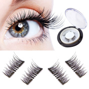 New Dual Magnetic False Eyelashes - 1 Pairs (4 Pieces) Ultra Thin 3D Fibre Reusable Best Fake Lashes Extension for Natural, Perfect for Deep Set Eyes & Round Eyes