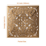 Wishmade Gold Square Lace Laser Cut Wedding Invitations Kits With Floral Cards for Birthday Bridal Shower Marriage Engagement with Envelopes Seals