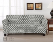 Form Fit, Slip Resistant, Stylish Furniture Cover / Protector Featuring Lightweight Stretch Twill Fabric. Brenna Collection Basic Strapless Slipcover. By Home Fashion Designs Brand.