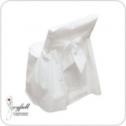 """Joyfull """"Linen-look"""" Disposable Folding Chair Cover with Bow, 4 Pack"""