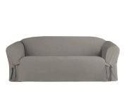 Linen Store Microsuede Slipcover Furniture Protector Cover, Grey, Sofa