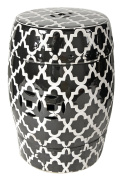 A & B Home 69634-BLAC Finley Indoor/Outdoor Patterned Stool, Black