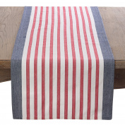 Saro LifeStyle 8027.NB1672B American Flag Red White & Blue Stripe Cotton Table Runner , Navy Blue, 41cm x 180cm