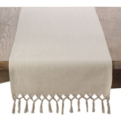 SARO LIFESTYLE 1835.N1672B Knotted Tassel Fringe Cotton Table Runner,Natural,41cm X 180cm