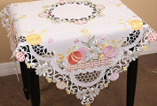 Xia Home Fashions Country Egg Embroidered Cutwork 90cm By 34-Inch Easter Table Topper